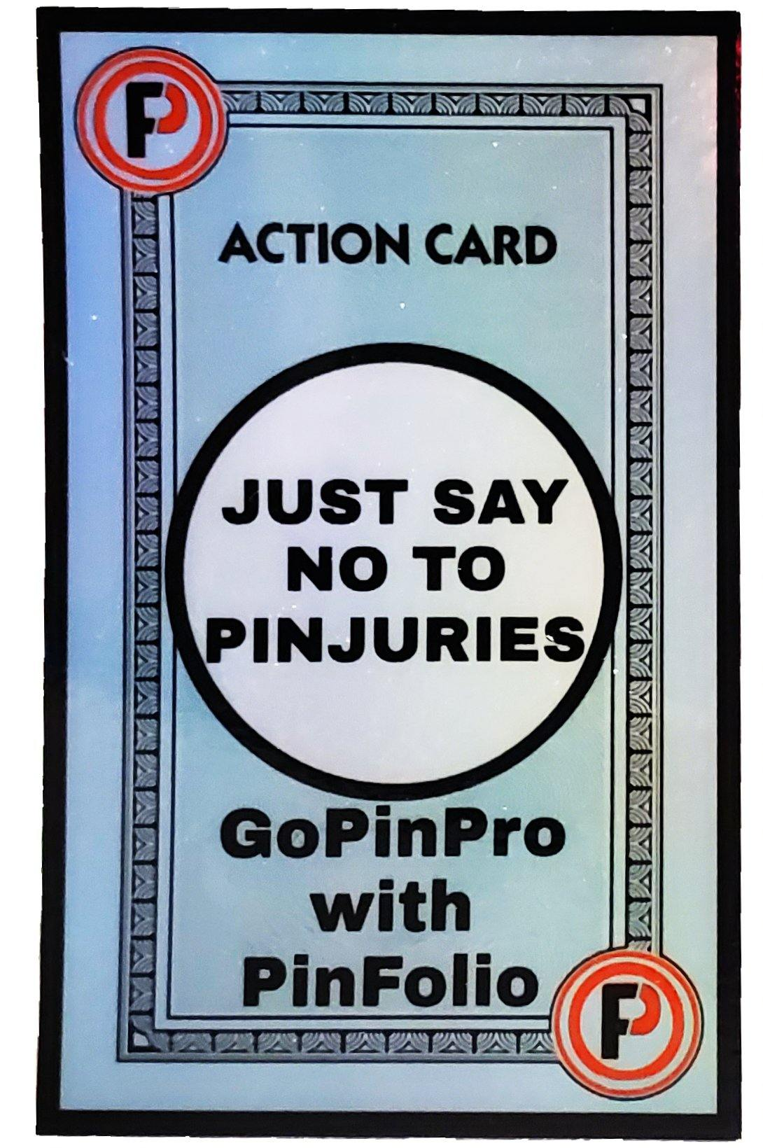 "Just say NO to PINjuries 2.21"" × 3"" holographic vinyl stickers - GoPinPro"
