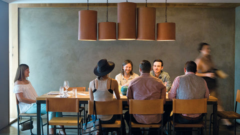 Clayworks cylinder lights Chicon Restaurant -Texas Monthly