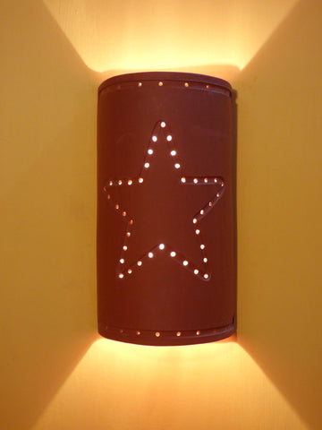 Lighted Terra Cotta  Star Design Wall Sconce - Clayworks Studio/Gallery