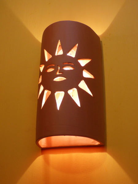 Lighted Sunface Terra Cotta Wall Sconce - Clayworks Studio/Gallery