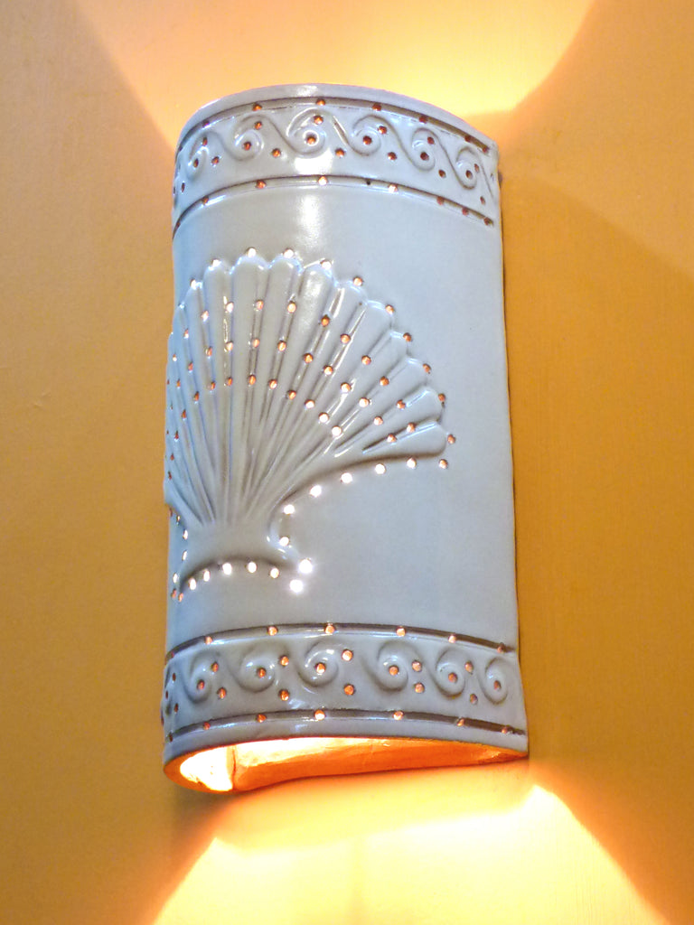 #314 Embossed Shell Sconce - Clayworks Studio/Gallery