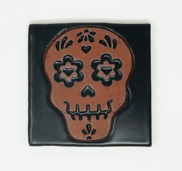 Day of the Dead Tile - Trébol Eyes & Ginger Calavera - Clayworks Studio/Gallery