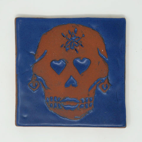 Day of the Dead Tile - Señor Bigote y Señora Corazon
