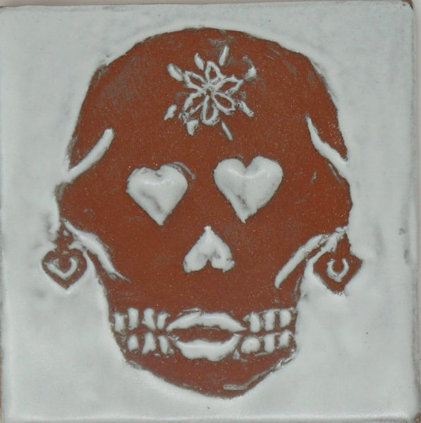 Day of the Dead Tile - Señor Bigote y Señora Corazon - Clayworks Studio/Gallery