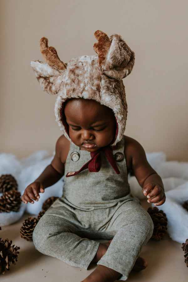 Reindeer Bonnet - Green Plaid