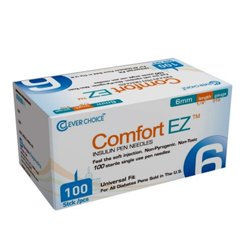 Clever Choice Comfort EZ Insulin Pen Needles - 31G 6mm 100/bx