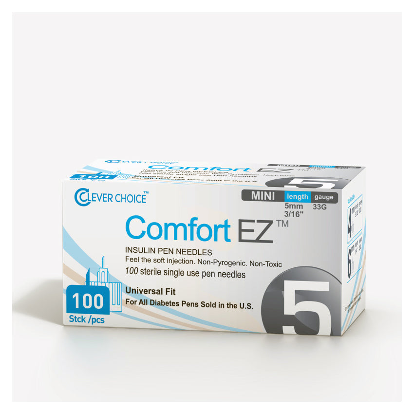Clever Choice Comfort EZ Insulin Pen Needles - 33G 5mm 100/bx