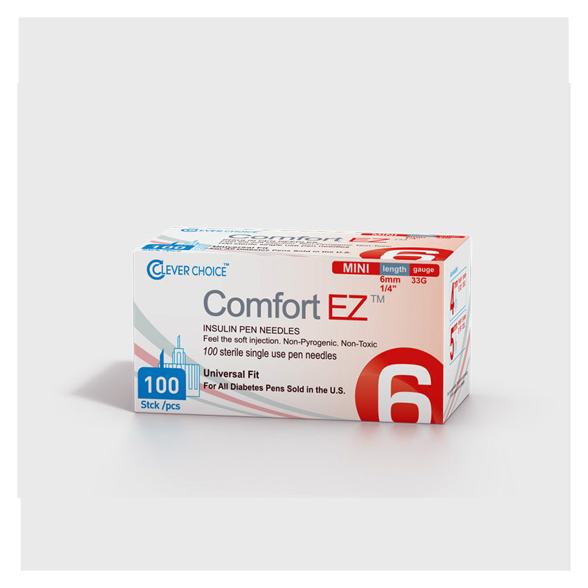 Clever Choice Comfort EZ Insulin Pen Needles - 33G 6mm 100/bx