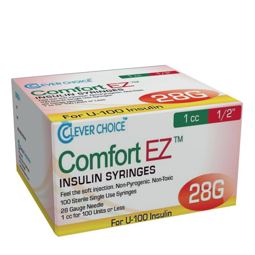 "Clever Choice Comfort EZ Insulin Syringes - 28G 1 cc 1/2"" 100/bx"