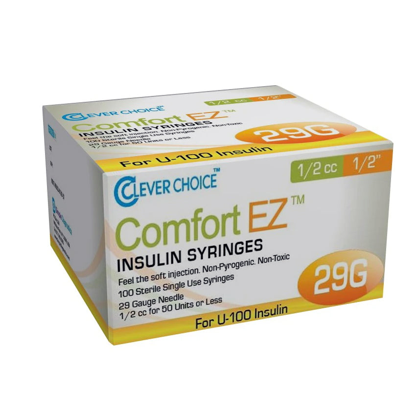 "Clever Choice Comfort EZ Insulin Syringes - 29G 1/2 cc 1/2"" 100/bx"