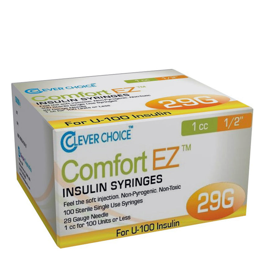 "Clever Choice Comfort EZ Insulin Syringes - 29G 1 cc 1/2"" 100/bx"