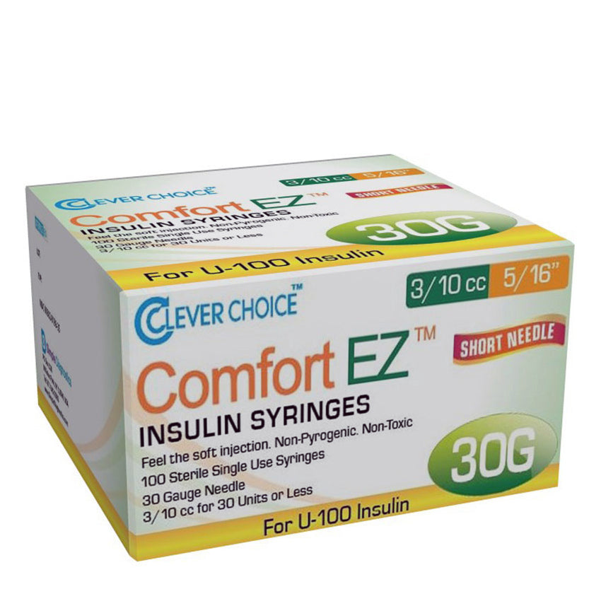 "Clever Choice Comfort EZ Insulin Syringes - 30G 3/10 cc 5/16"" 100/bx"