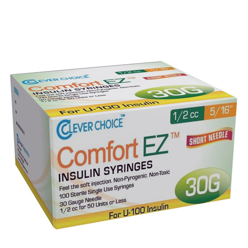 "Clever Choice Comfort EZ Insulin Syringes - 30G 1/2 cc 5/16"" 100/bx"