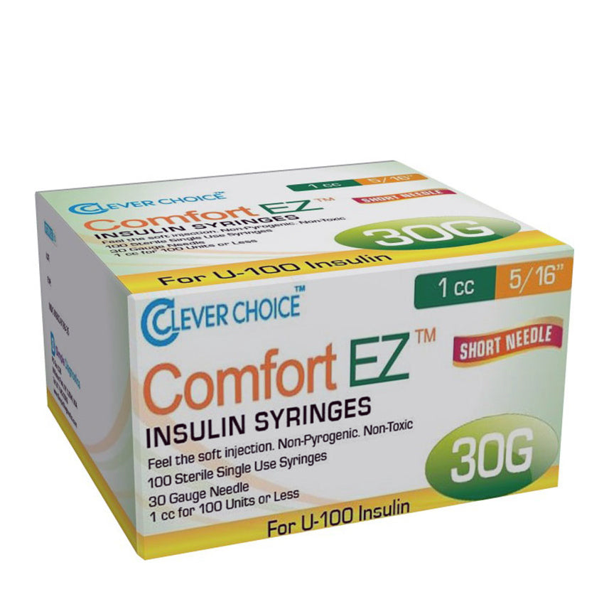 "Clever Choice Comfort EZ Insulin Syringes - 30G 1 cc 5/16"" 100/bx"