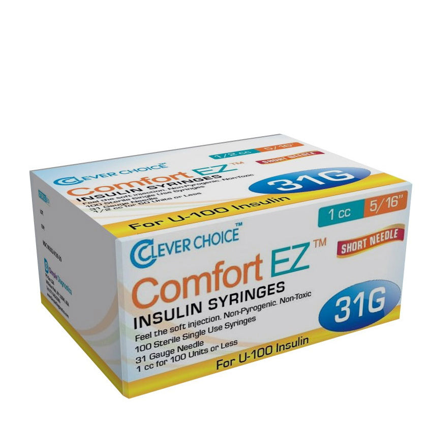 "Clever Choice Comfort EZ Insulin Syringes - 31G 1 cc 5/16"" 100/bx"