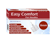 Easy Comfort Insulin Pen Needles - 31G 8mm 100/BX