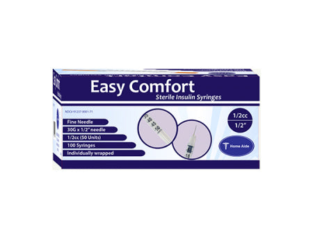 "Easy Comfort Insulin Syringes - 30G 1/2 cc 1/2"" 100/bx"
