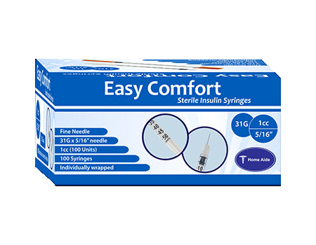 "Easy Comfort Insulin Syringes - 31G 1 cc 5/16"" 100/bx"
