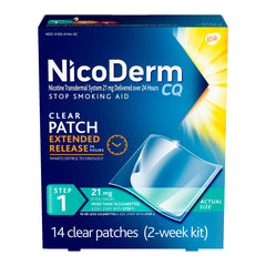 NicoDerm CQ Nicotine Patch, Clear, Step 1, 21mg, 14 Count