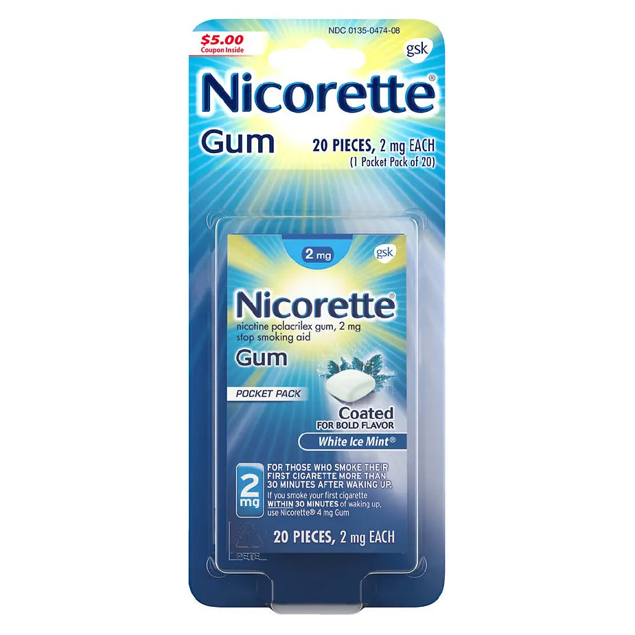 Nicorette Gum - 2mg - White Ice Mint - 20 Pieces