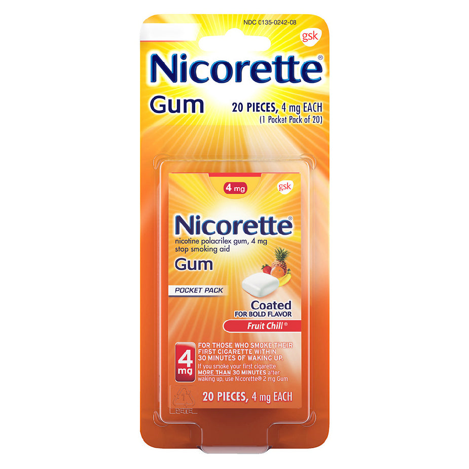 Nicorette Gum - 4mg - Fruit Chill - 20 Pieces