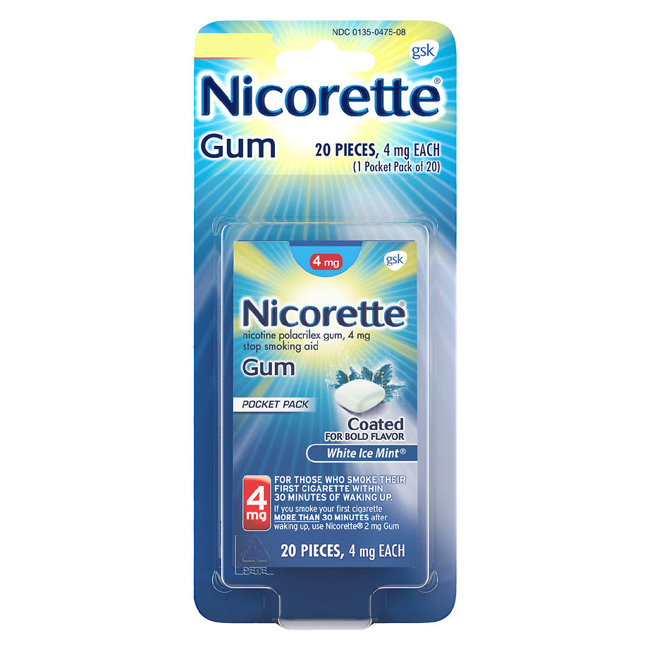 Nicorette Gum - 4mg - White Ice Mint - 20 Pieces