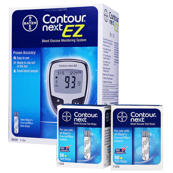 Bayer Contour Next EZ Meter Kit w/ 100 Test Strips