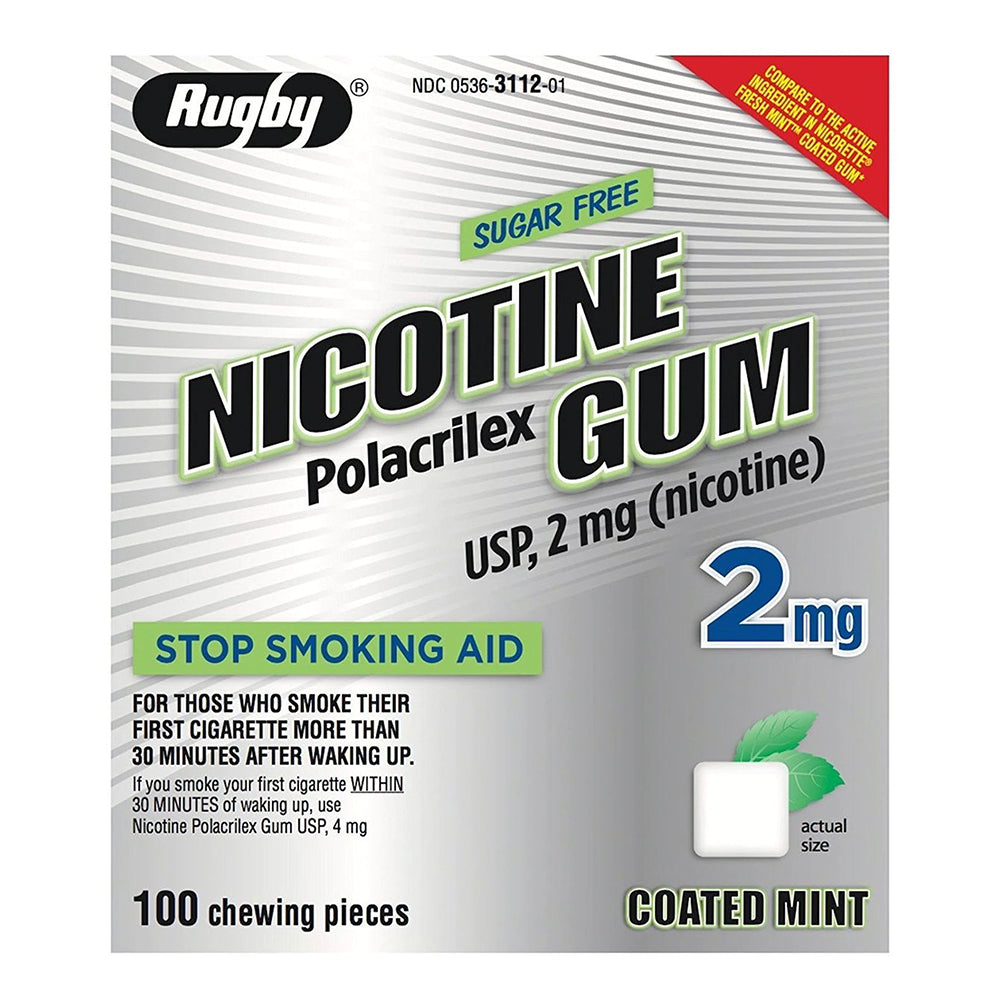 Rugby Nicotine Gum, 2mg, Sugar Free Coated Mint - 100 Pieces