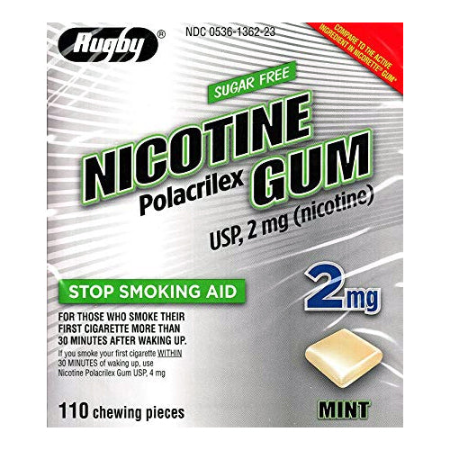 Rugby Nicotine Gum, 2mg, Sugar Free Mint - 110 Pieces