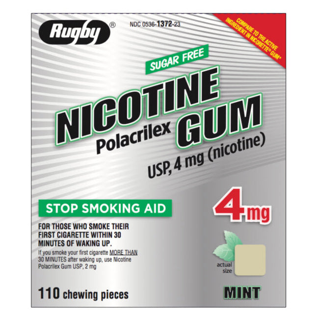 Rugby Sugar Free Nicotine Polacrilex Gum - 4mg - Mint - 110 Pieces