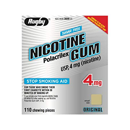 Rugby Sugar Free Nicotine Polacrilex Gum - 4mg - Original - 110 Pieces