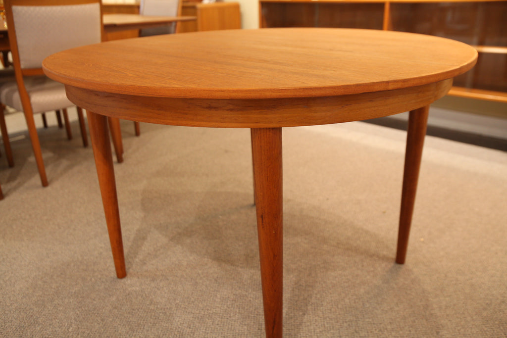 "Vintage Danish Teak Round Table w/ Leaf (63""x43"") or (43"" Round Dia)"