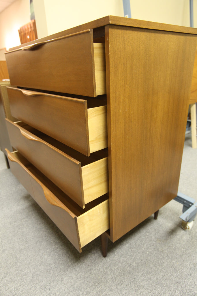 "Vintage Walnut 4 Drawer Tallboy Dresser (34""W x 18.5""D x 38""H)"