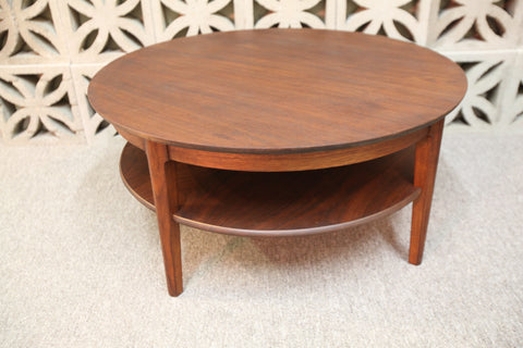 "Vintage Gibbard Round Walnut Coffee Table (34"" Dia x 16""H)"
