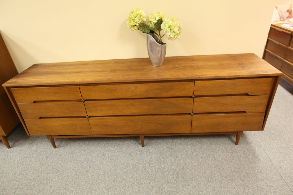 "Vintage Vic-Art Walnut 9 Drawer Dresser (86""W x 19""D x 30""H)"