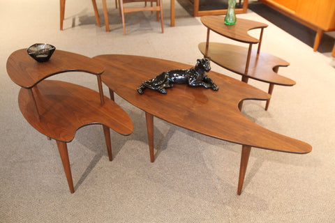 Vintage Walnut Boomerang Coffee Table / End Tables Set (3 Pieces)
