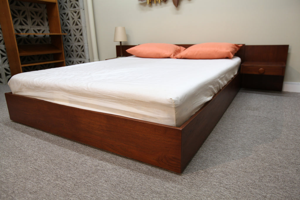 "Vintage Teak Queen Bed w/ Floating Night Stands (98""W x 22""H x 82.5""L)"