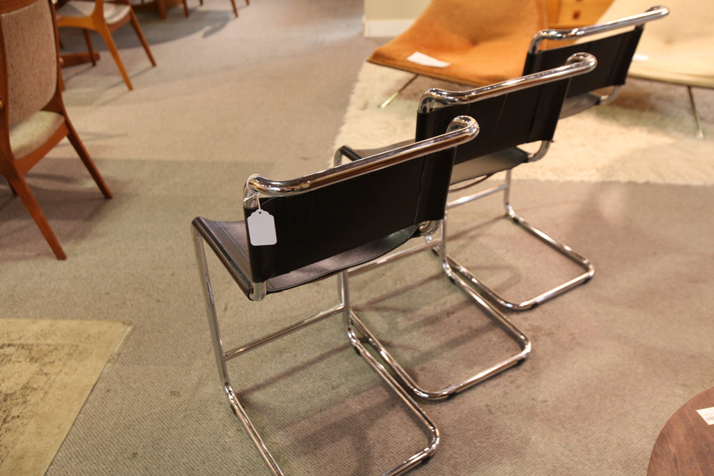 "Set of 3 Marcel Breuer Style Leather / Chrome Stools  (seat 23""H)"