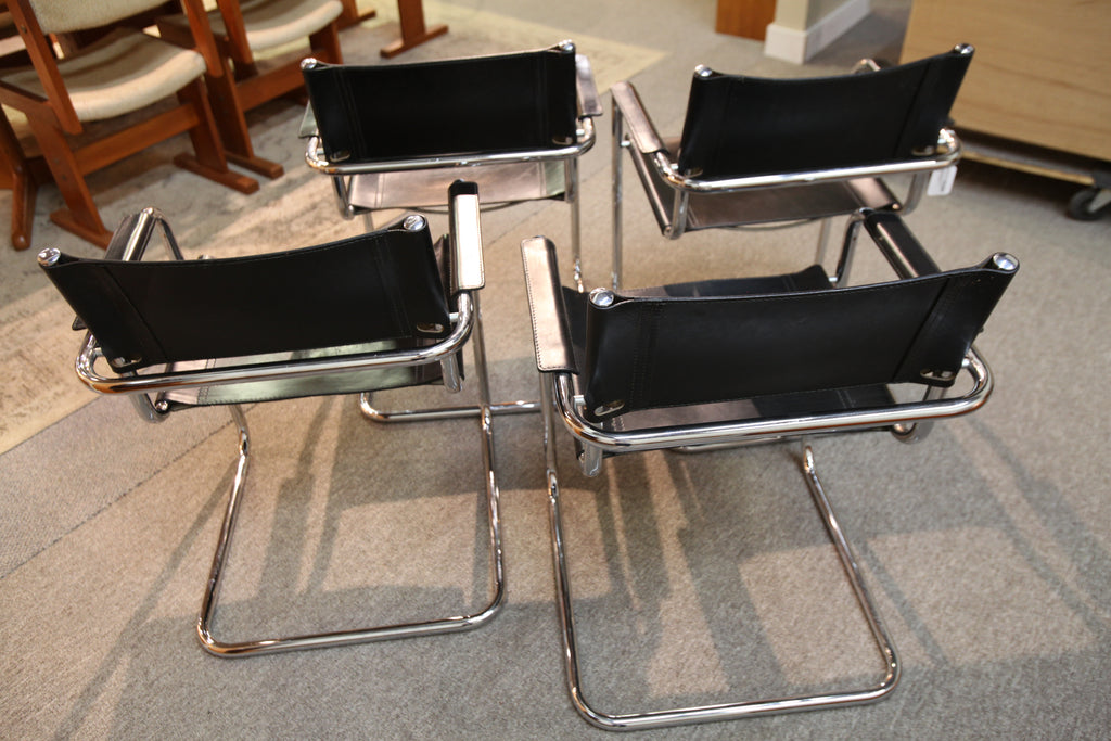 "Set of 4 Marcel Breuer Style Leather / Chrome Chairs (Seat 17""H)"
