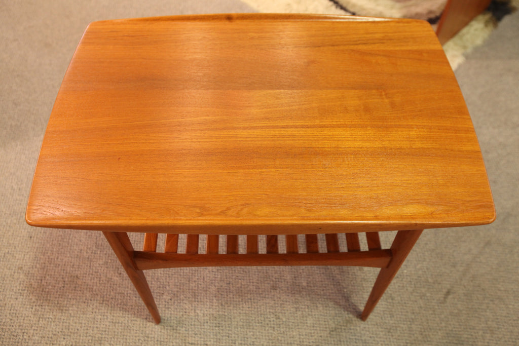 "Vintage France & Daverkosen Teak Surfboard End Table (29.5"" x 20"" x 23""H)"