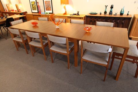 "Danish Teak Skovby Dining Table w/ 3 Leafs (120.5"" x 35.5"") (59"" x 35.5"")"