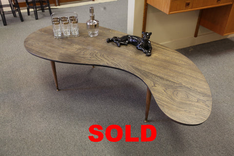 "Very Cool Vintage Kidney Shaped Coffee Table (Approx 73"" x 33"" x 17""H)"