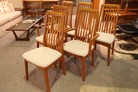 "Set of 6 Vintage Teak ""Benny Linden"" Dining Chairs"