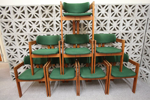 "Very Cool Set of 8 Vintage Teak Dining Chairs (Original) (21.5""W x 20""D x 28.5""H)"