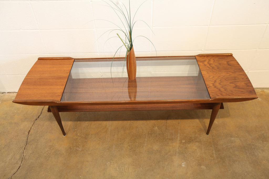 "Vintage Walnut / Glass Insert Coffee Table (59.5""L x 18.75""W x 16""H)"