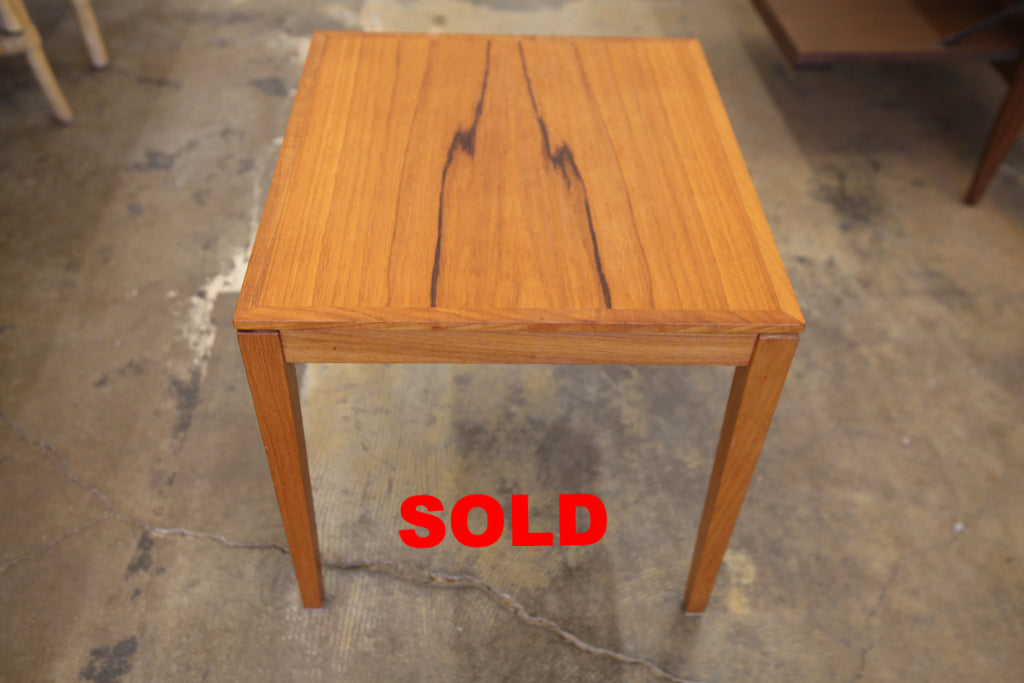 "Vintage Small Teak Side Table by Bent Silberg (17.25"" x 15.75"" x 15.75""H)"