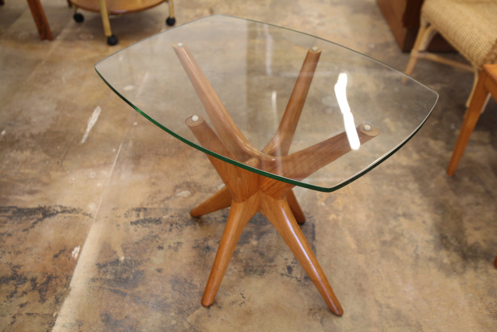 "Vintage Adrian Pearsall Style Glass Top Side Table (25"" x 19"" x 22""H)"