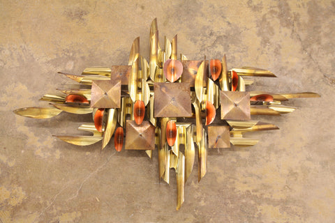 "Vintage Brass & Copper Metal Art (43""W x 29""H x 4""D)"
