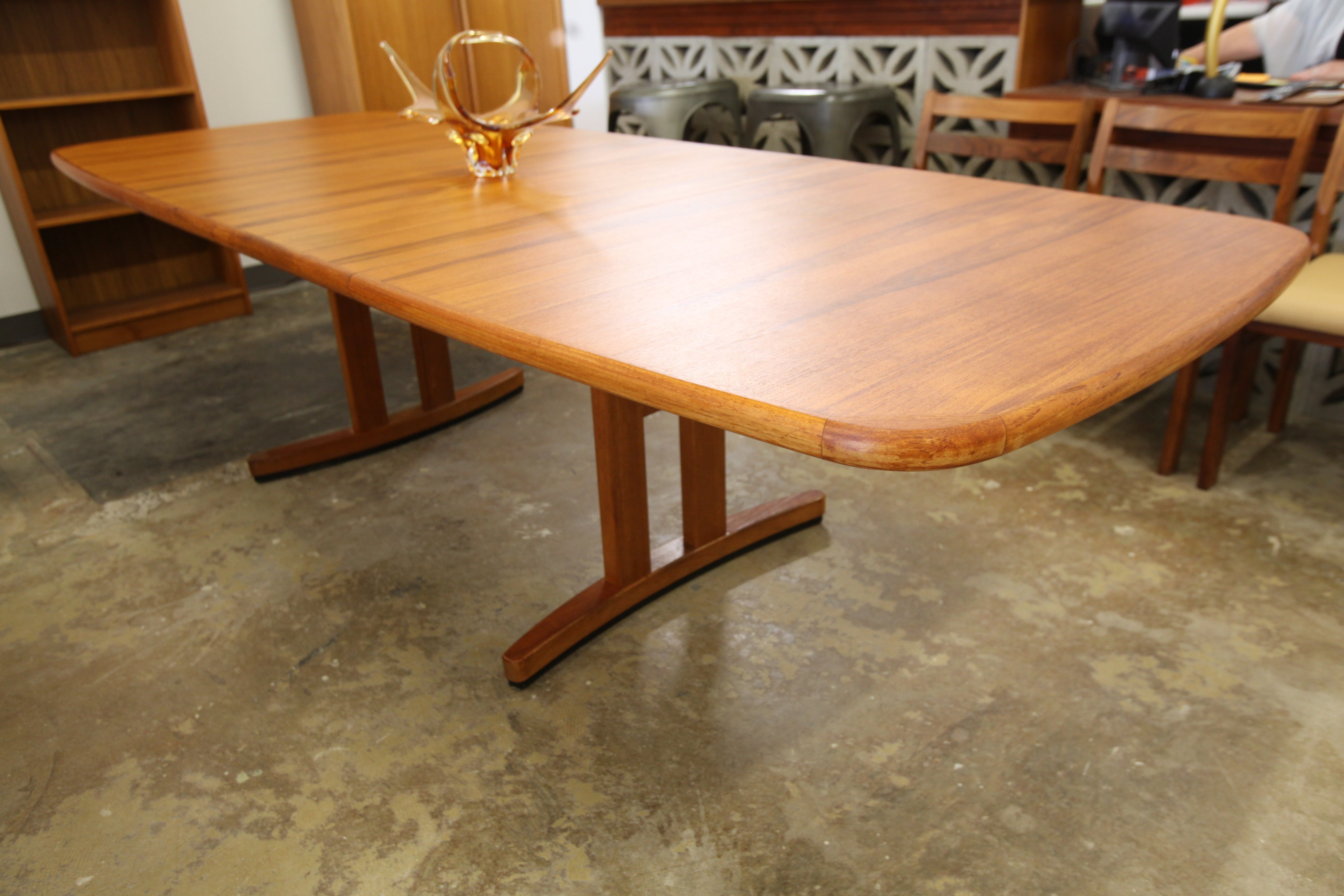 "Large Vintage Teak Dining Table w/ 2 Leafs (108"" x 42"") or (69.5"" x 42"")"