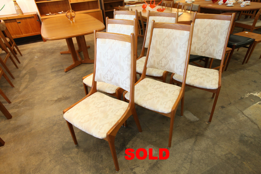 "Set of 6 Vintage Teak High Back Dining Chairs (18.25""W x 39.25""H)"
